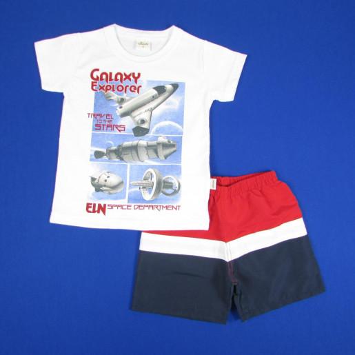 Conjunto Masculino Camiseta Estampada Galaxy Explorer e Bermuda Tactel 22824 - Elian