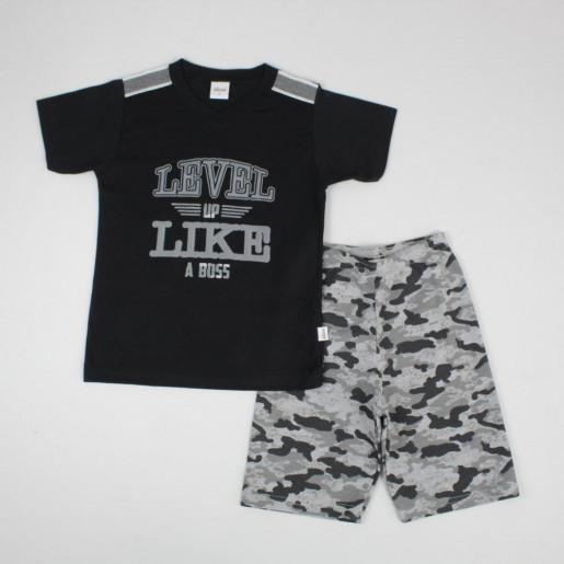 Conjunto Masculino Camiseta Estampada Level e Bermuda Moletinho Camuflada 22903 - Elian