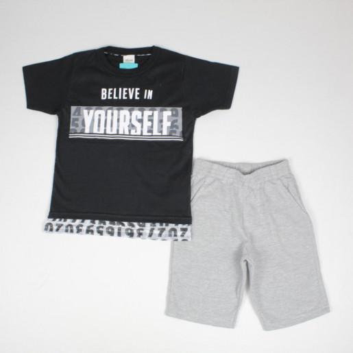 Conjunto Masculino Camiseta com Tela e Bermuda Moletinho 24930 - Elian