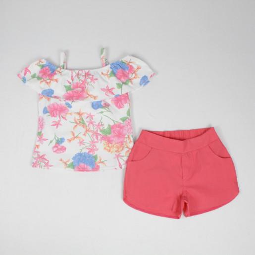 Conjunto Feminino Blusa Cigana Estampada Flores e Shorts Tecido 251229 - Elian