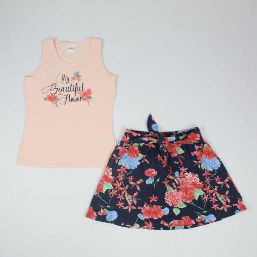 Conjunto Feminino Blusa em Cotton Estampada Beautiful e Saia 251252 - Elian