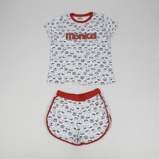 Pijama Curto Feminino Estampado Mônica 49040022 - Evanilda