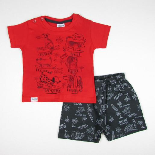 Conjunto Masculino Camiseta Estampada Animais e Bermuda Moletinho 3207 - Fakini