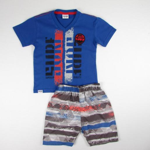 Conjunto Masculino Camiseta Bordada Wave e Bermuda Listrada 3221 - Fakini