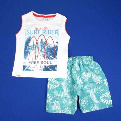 Conjunto Masculino Regata Estampada Surf Rider e Bermuda Tactel 3226 - Fakini