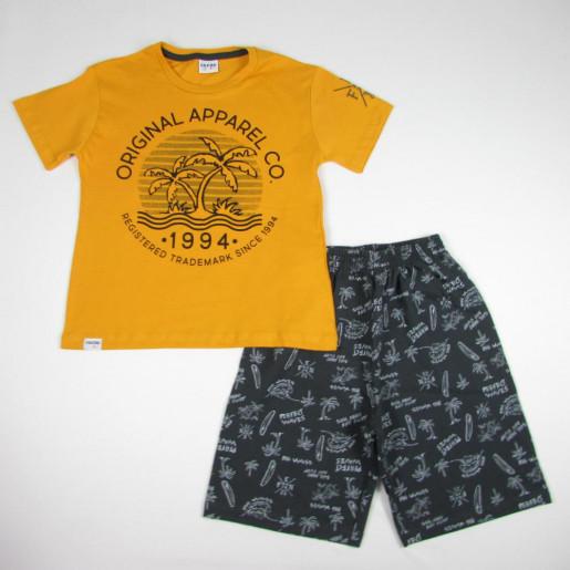 Conjunto Masculino Camiseta Estampada Coqueiro e Bermuda Moletinho 3255 - Fakini