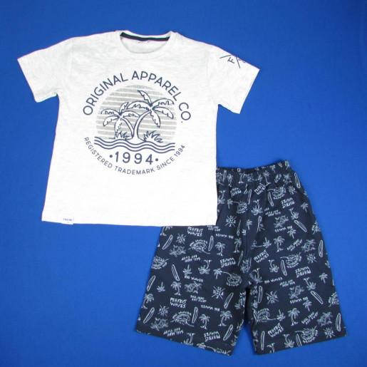 Conjunto Masculino Camiseta Estampada Coqueiro e Bermuda Moletinho 3274 - Fakini
