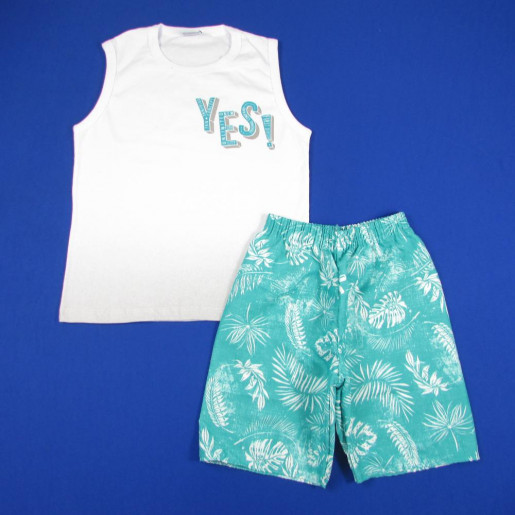 Conjunto Masculino Regata Estampada Yes! e Bermuda Tactel 3256 - Fakini