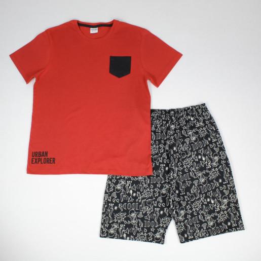 Conjunto Masculino Camiseta com Bolso e Bermuda Moletinho Estampada 3306 - Fakini