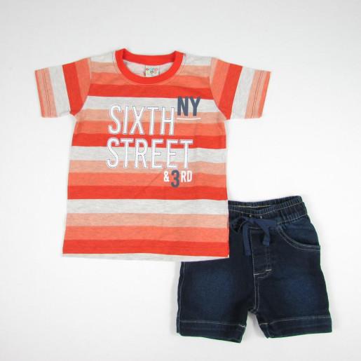 Conjunto Masculino Camiseta Listrada e Bermuda Jeans 21369 - Have Fun