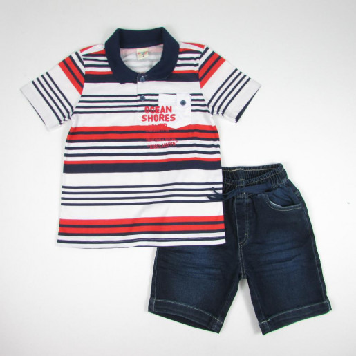 Conjunto Masculino Polo Listrada com Bolso e Bermuda Jeans 21430 - Have Fun