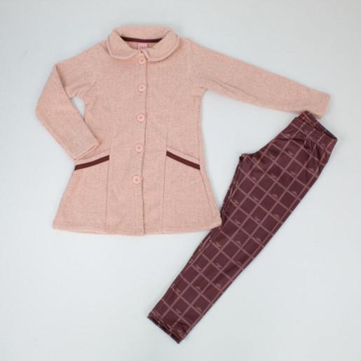 Conjunto Longo Feminino Casaco Tweed e Legging Xadrez 015102010 - Dila