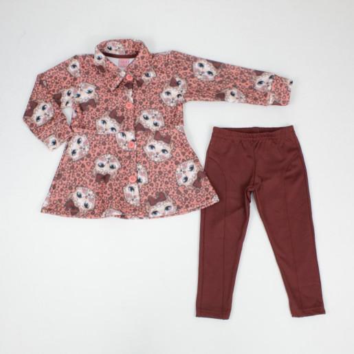 Conjunto Longo Feminino Casaco Soft Estampado Gatinha 015001778 - Dila