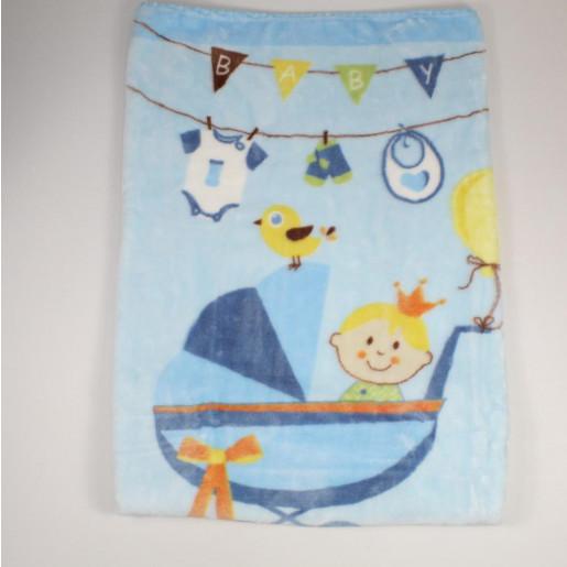 Cobertor Infantil Raschel  com Barrado Estampado Carrinho de Bebê - Jolitex