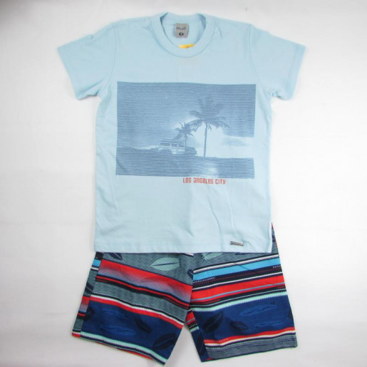 Conjunto Masculino com Shorts de Tactel Listrado 6910 - Kamylus