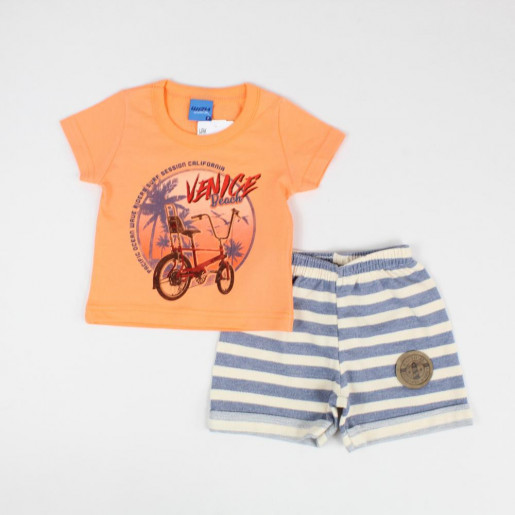Conjunto Masculino Camiseta Estampada Venice e Bermuda Moletinho 45019 - Wrk