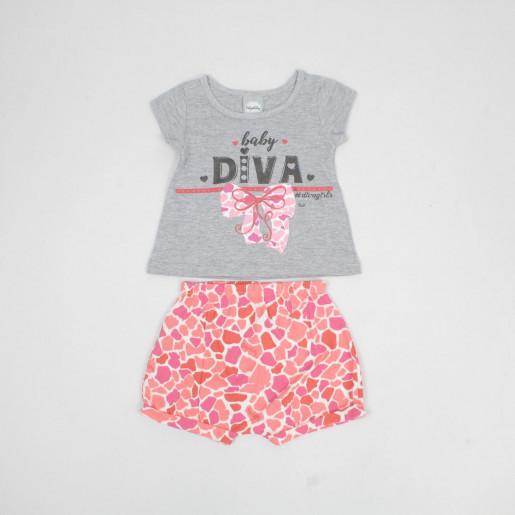 Conjunto Feminino Blusa Estampada Diva e Shorts 50033 - Kely Kety