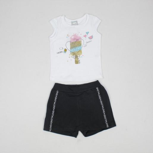 Conjunto Feminino Blusa Estampada Sorvete e Shorts Saia 50305 - Kely Kety