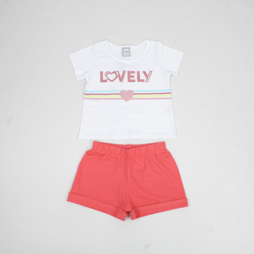Conjunto Feminino Blusa Estampada Lovely e Shorts Moletinho 50628 - Kely Kety