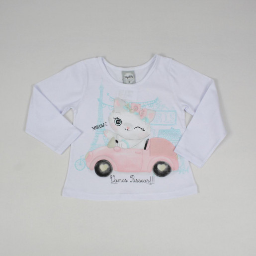 Blusa Manga Longa Estampada Carro Glitter 60377 - Kely Kety