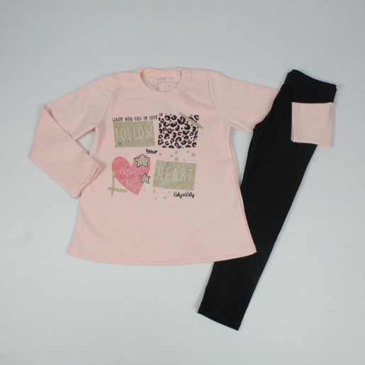 Conjunto Longo Feminino Blusa Moletom Estampada Follow e Legging 60823 - Kely Kety