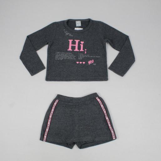 Conjunto Longo Feminino Blusa Estampada Hi e Shorts Saia 60827 - Kely Kety