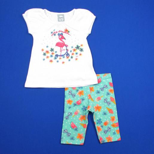 Conjunto Feminino Estampado Flamingo com Strass  43003 - Kely Kety