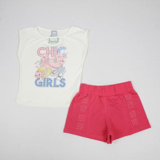 Conjunto Feminino Blusa Estampada Chic Girls e Shorts 43604 - Kely Kety