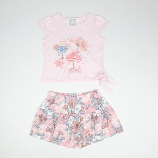 Conjunto Feminino Blusa Estampada Chapéus e Shorts 50586 - Kely Kety