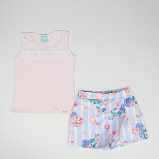 Conjunto Feminino Blusa com Tule e Shorts Saia acetinado 93093 - Kely Kety