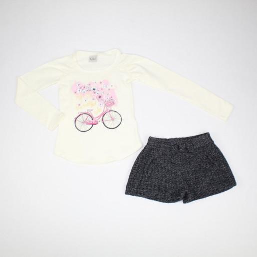 Conjunto Longo Feminino Blusa Estampada Flores e Shorts Tweed 5639 - Kiko