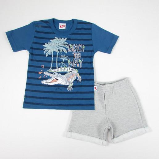 Conjunto Masculino Camiseta Estampada Beach e Bermuda Moletinho 4902 - Kiko