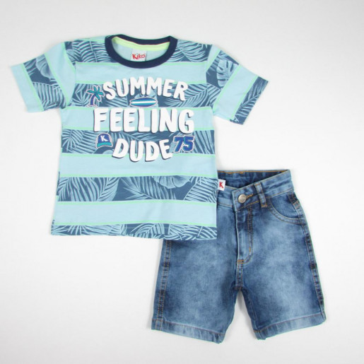 Conjunto Masculino Camiseta Estampada Summer e Bermuda Jeans 5248 - Kiko