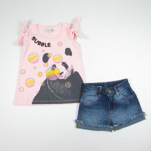 Conjunto Feminino Blusa Estampada Panda e Shorts Jeans 5281 - Kiko