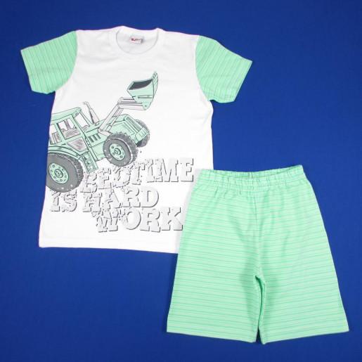 Pijama Curto Masculino Estampado Trator com Listras 5364 - Kiko