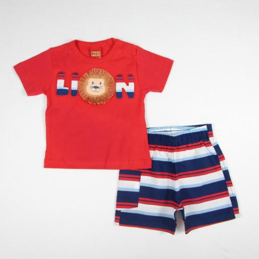 Conjunto Masculino Camiseta Bordada Lion e Bermuda Tactel 109217 - Kyly