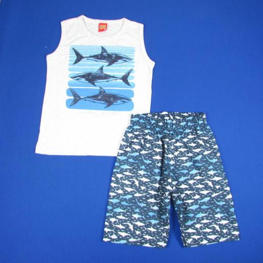 Conjunto Masculino Regata Estampada Tubarão e Bermuda Tactel 109234 - Kyly