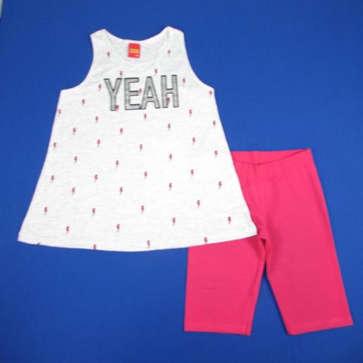 Conjunto Feminino Blusa Estampada Yeah com Gliter 109367 - Kyly