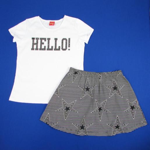 Conjunto Feminino Blusa Estampada Hello e Saia 109370 - Kyly