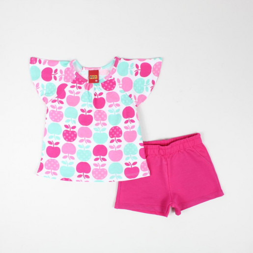 Conjunto Feminino Blusa Estampada Maçãs e Shorts Moletinho 109622 - Kyly