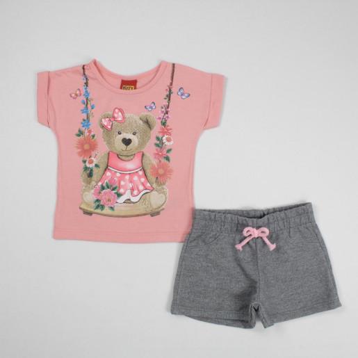 Conjunto Feminino Blusa  Estampada Urso e Shorts Moletinho 109626 - Kyly