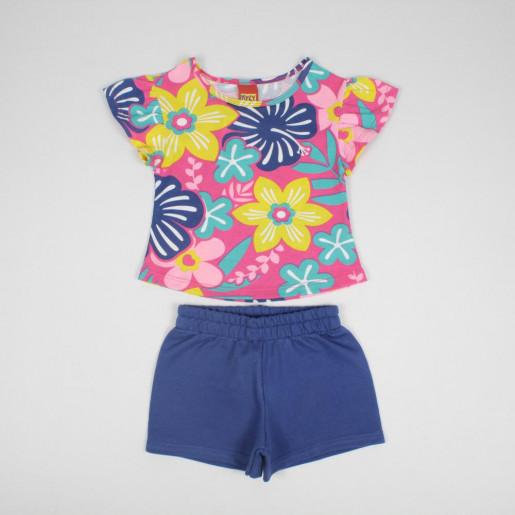 Conjunto Feminino Blusa Estampada Floral e Shorts Moletinho 109864 - Kyly