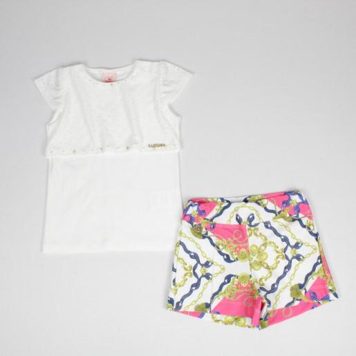 Conjunto Feminino Blusa com Lese e Shorts Estampado Neoprene 7467 - Lussan