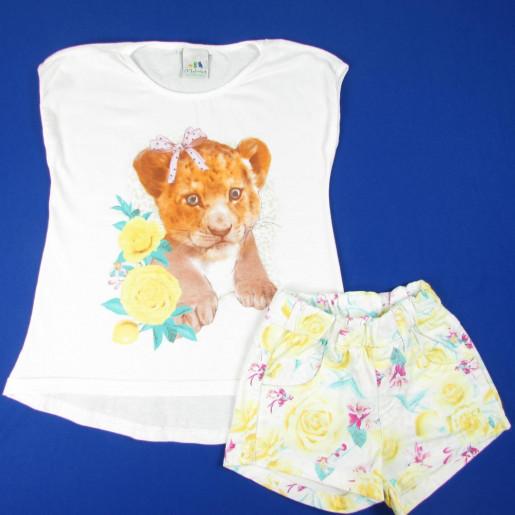 Conjunto Feminino com Strass e Shorts Estampado Floral 1000003293 - Malwee