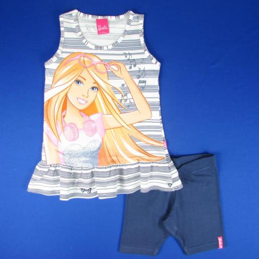 Conjunto Feminino Barbie Listrado com Bermuda 1070000607 - Malwee