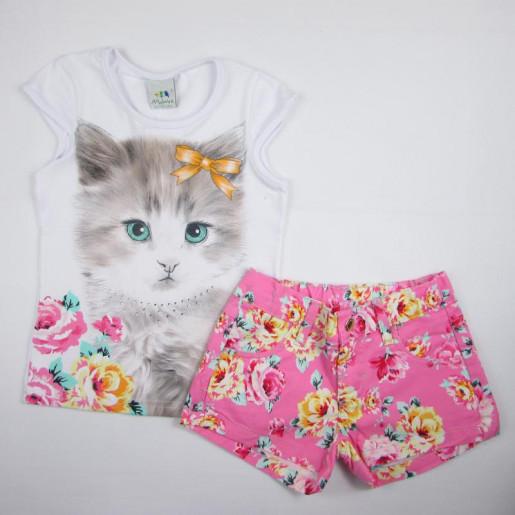 Conjunto Feminino com Shorts Estampado Floral 1000001112 Gatinho - Malwee
