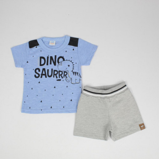 Conjunto Masculino Camiseta Estampada Dinosaurrr e Bermuda Moletinho 60363 - Marlan