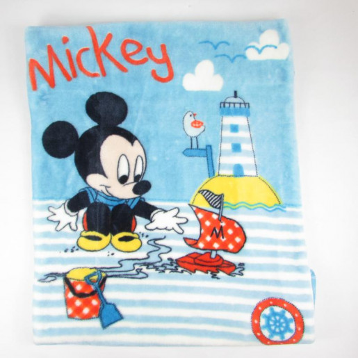 Cobertor Infantil Raschel Disney Mickey Barquinho 90cm x 1,10m - Jolitex