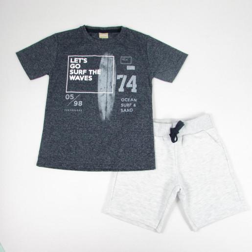 Conjunto Masculino Camiseta Estampada Prancha e Bermuda Moletinho 11201 - Milon
