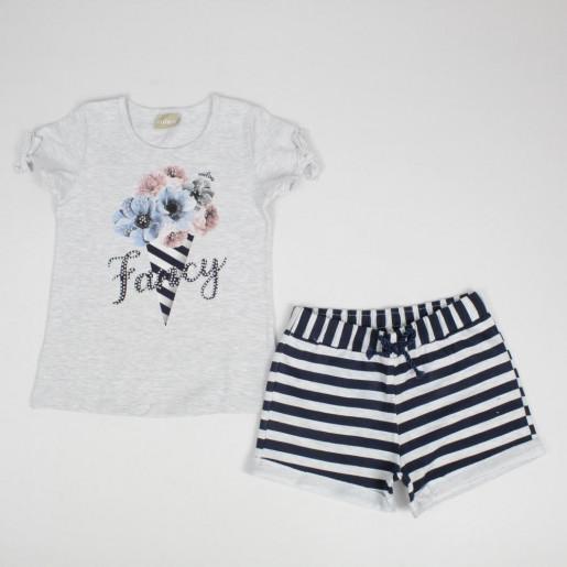 Conjunto Feminino Blusa Estampada Fancy com Tachas e Bermuda Moletinho Listrada 11736 - Milon